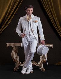 Mandarin Suit Tie Australia - New Popular Mandarin Lapel Embroidery Groomsmen One Button Groom Tuxedos Men Suits Wedding Prom Best Man Blazer ( Jacket+Pants+Vest+Tie) 325