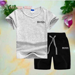 Wholesale New Spring Luxury Designer Baby Boy s t shirt Pants Two piec years olde Suit Kids Brand Children s Cotton Clothing Sets
