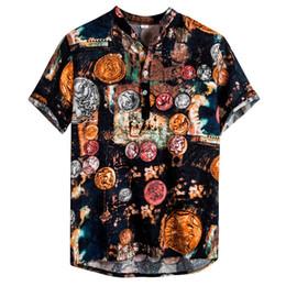 Discount cotton spandex t shirt mens - 2019 mens cotton plus size linen T-shirt printing shirt men short sleeve Henry collar shirt casual comfort men luxury 40