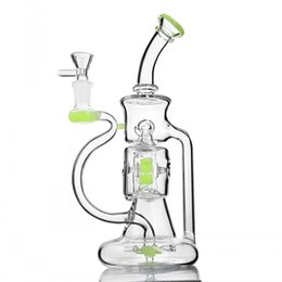 Big recycler Bongs online shopping - 9 inchs Klein Recycler Oil Rigs Big Glass Bong Water Pipes Heady Glass Water Bongs Hookahs Shisha With mm Bowl Tobacco