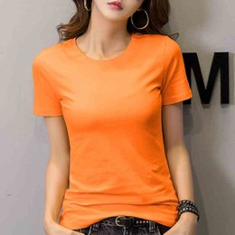 L Orange Clothes Australia - women t shirt short sleeve t-shirt summer clothing tops woman round neck tshirt orange fashion casual clothes