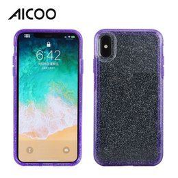 Discount mobile shine - AICOO Transparent Shining Sequin Mobile Phone Case Flash Powder Full Protection Phone Cover for iPhone XS Max XR X 8 Plu