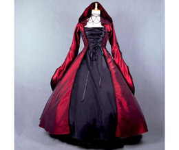 $enCountryForm.capitalKeyWord Australia - Black And Red Gothic Wedding Dresses With Hoodie Retro Wedding Gown Ball Duchess Lolita Wedding Dress Square Long Sleeves Cosplay Party Gown