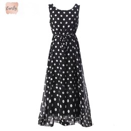 maxi dress elegant black chiffon Australia - Casual Long Summer Dress Women Sexy Sleeveless Elegant Women Summer Dress Maxi Chiffon Large Size Dress For Women Dr180