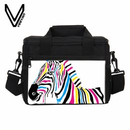 student lunch boxes UK - Zebra Paint Thermo Lunch Bags for Girl Women Portable Insulated Thermal Lunch Box Student Picnic Handbag Storage Container