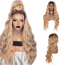 $enCountryForm.capitalKeyWord Australia - 180% Density 24Inch Long Wavy Ombre Blonde Wig Heat Resistant Synthetic Lace Front Wigs With Baby Hair Middle Part Natural Wigs For Women