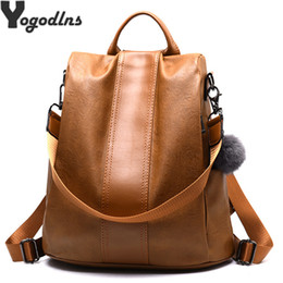 large capacity backpack Australia - Quality Leather Anti-thief Women Backpack Large Capacity Hair Ball School Bag For Teenager Girls Male Travel Bags Y19061004
