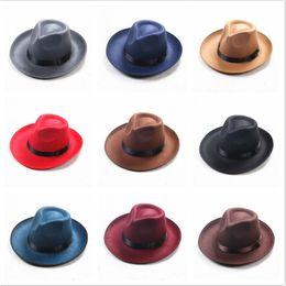 Felt Trilby Hat Australia - Winter Vintage Warm Sun-shade Panama Fshion Gangster Cap Hard Wide Brim Fedora Trilby Felt Hat British Style Women Men
