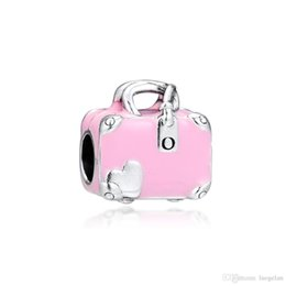 3c0a3160e 2019 Original Real 925 Sterling Silver Jewelry Pink Travel Bag Charm Beads  Fits European Pandora Bracelets Necklace for Women Making