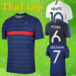 france away soccer jersey NZ - Thai quality 2020 France home away jersey 2018 ZIDANE GRIEZMANN soccer jerseys POGBA Football shirts PAVARD KANTE MBAPPE maillot de foot