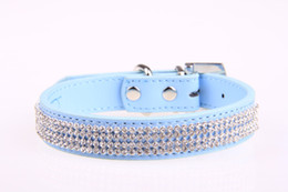 bling small dog collars NZ - New Bling small Dog Collar PU Leather Rhinestone diamond Pet Puppy Cat collar Fashion Necklace designer dog collars X,M,L size