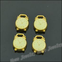 $enCountryForm.capitalKeyWord Australia - Wholesale200 pcs Enamel Alloy Gold-color Jewelry Alarm clock Pendants charms for bracelet necklace DIY jewelry making JC-500