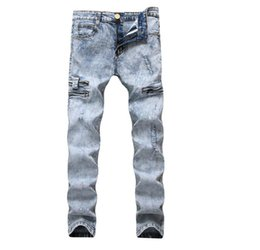 $enCountryForm.capitalKeyWord Australia - 2019 Spring Newest Mens Light Blue Stretch Ripped Designer Best Jeans Fashion Slim Fit Washed scratched Zipper Skinny Denim Pants TX9859