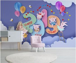 $enCountryForm.capitalKeyWord Australia - WDBH 3d wallpaper custom photo Modern minimalist cartoon cute pig cloud child home decor living room 3d wall murals wallpaper for walls 3 d