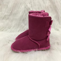 Discount cute heels kids Girls Australia Style Kids Snow Boots Cute Bow Back Waterproof Slip-on Children Winter Cow Leather Boots Brand Ivg EUR 2