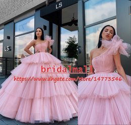 One shOulder quinceanera dresses online shopping - Multi Layers Tulle Pink African Prom Dresses Long One Shoulder Quinceanera Ball Gowns Arabic Formal Party Dress Evening Wear Vestidos