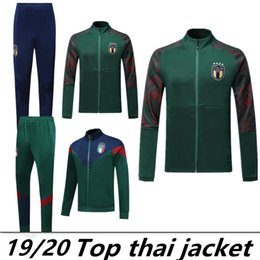 Chinese  TOP Thailand Italy National Team Soccer green suits 2019 VERRATTI MARCHISIO Full Zipper Long Sleeve Tracksuits Kits Chandal Soccer Jerseys manufacturers