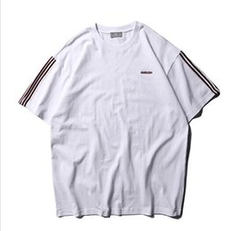 Striped ShirtS for women online shopping - 2019ss Best Quality bush Logo Embroidery Women Men T shirts tees Sleeve Striped Hiphop Streetwear Men Cotton T shirt For Summer