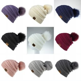 skiing beanies Canada - Womens Winter Hand Knit Hats Faux Fur Pompom Soft Pure Color Beanie Hat Fashion Outdoor Activities Skiing 9 Styles N44Z