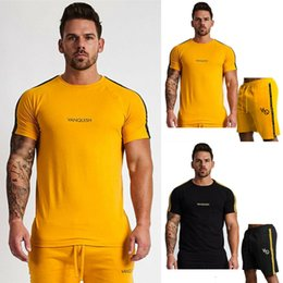 cardigan shirt sets 2019 - Mens Tracksuit Crew Neck T shirts Tops Shorts Pants Set 2Pcs Gym Sports Suit discount cardigan shirt sets