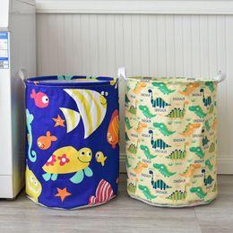 Toy Laundry Baskets Australia - Hot Selling Toys Finishing Storage Bucket Large Waterproof Storage Bucket Dirty Clothes Laundry Basket Cute Fishes Dinosaur Printed Bag