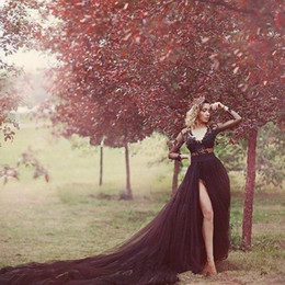 MusliM wedding dress green online shopping - Black Gothic Wedding Dresses Long Illusion Sleeves Chapel Train Lace Applique V Neck Side Slit Custom Made Wedding Bridal Gown