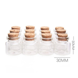 bottles wood cork NZ - Wholesale- 12Pcs Mini Glass Bottles With Cork Wood 10ml Transparent Glass Bottle Jars Vials Clear Drift Bottle 30x30mm Storage Container