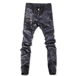 45e76964e538b Autumn Spring Biker Skinny Men Gothic Punk Hip Hop Faux Leather Pants Pu  Buckles Personality Zippers Black Leather Trousers
