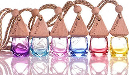 car scents air freshener wholesalers UK - 6ml Diamond Glass Perfume Bottle Pendant Car Hanging Perfume Bottles Air Freshener Carrier Essential Oil Hang Rope Bottle with Cap Free Ship