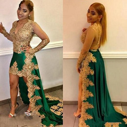 Gorgeous Green And Gold Lace Applique Evening Party Dresses Gowns 2020 Deep V-neck Poet Long Sleeve High Low Prom Dress Cheap Formal Dress from plus size mini business dresses suppliers