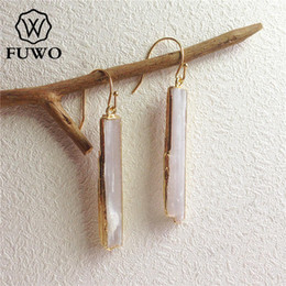 natural ruby stone jewelry Canada - Fuwo Natural Selenite Earrings 24k Gold Electroplate Raw Selenite Stone Crystal Blade Dangle Earrings Elegant Jewelry Er004 Y19050901