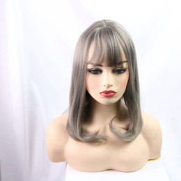 Discount gray wigs for black women - Synthetic Wig Long Straight Afo wigs For Black Women qi bangs wig popular gray wig Free shipping