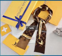 Hair scarf plaid online shopping - Fashion brand summer small thin scarf hair bag ribbon alphabet flower silk scarf for