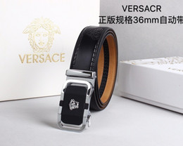 Silver Knit Fabric Australia - Leather belt with new material automatic silver buckle Mens Belt Authentic Official Belt With Box
