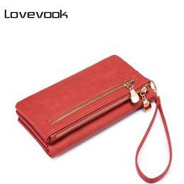Wrist Strap Wallet Australia - LOVEVOOK women wallet female long purse card holder multi card slots with wrist strap coin pocket ladies clutch high quality PU