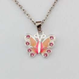 Wholesale 10pcs Pink Rhinestone Enamel Butterfly Alloy Charms Pendants Necklaces Jewelry DIY inches Chains A d
