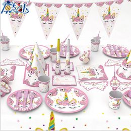 Kids Cupcake Party Australia - Invitation Card Unicorn Party Supplies Pink Rainbow Unicorn Banner Plates Napkin Cupcake Wrapper Baby Shower Kids Birthday Decorations