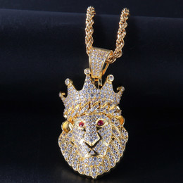 ingrosso teste hip hop-James Style Hip Hop Sales calde Animal Leone Head Collane Collane Pendente in oro argento Colore Bling Cubico Zircone Hip Hip Hop collana gioielli roccia