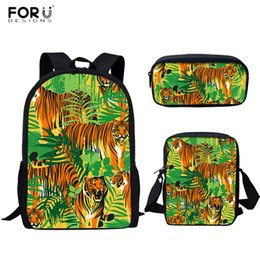 $enCountryForm.capitalKeyWord NZ - FORUDESIGNS Cool Men Boys School Bags Tigers Playing Together Pattern 3pcs set Laptop Backpacks for Teens 3D Schoolbags Rucksack