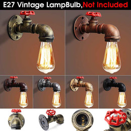 wall light fittings Australia - Best Price E27 Vintage Industrial Rustic Wall Sconce Wall Light Fixture Fitting Water Pipes Style 2
