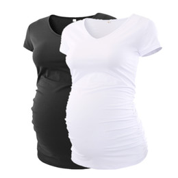 classic bottles UK - Summer Maternity Pregnancy Clothes Classic Side Ruched T-shirt Pregnant Tops Mama Pregnancy Clothes V-neck Summer 2018 Top Y19052003