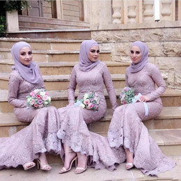 $enCountryForm.capitalKeyWord Australia - 2019 Modest Arabic Muslim Bridesmaid Dresses with Hijab Long Sleeves Mermaid Prom Dresses Lace Applique Trumpet Maid of Honor Party Gowns
