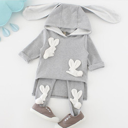 Cartoon Rabbit Hoodies Australia - Spring 2019 Baby Girl Clothes Cartoon rabbit Infant Hoodies Coat+Pants Cotton Two-Piece Long Sleeve Outfit Suit girls Clothing