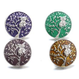 noosa owl UK - NOOSA Snap Jewelry Tree of life Owl Rhinestone Snap Buttons fit 18mm snap button bracelet Necklace Jewelry