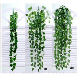 fake vines decoration UK - 2018 New 1PC Green Artificial Fake Hanging Vine Plant Leaves Garland Home Garden Wall Decoration Green Artificial Vine C0613