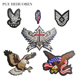 $enCountryForm.capitalKeyWord Australia - PGY Wings Eagle Feather Embroidered Biker Patches For Jeans Men Jacket Clothing Punk Style Patch Stickers On Motorcycle Parches