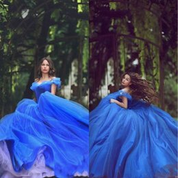 cinderella prom gowns NZ - 2020 Vintage Cinderella Quinceanera Dresses Blue Off the Shoulder Ball Gown Puffy Tulle Prom Gowns Lace-up Sweet 16 Formal Dress Said Mhamad