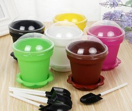 Wholesale New Flower Pot Cake Cups Spoon Set Ice Cream ecoration for Wedding Kids Birthday Party Supplies Baking Pastry Tools