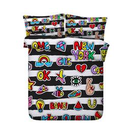 $enCountryForm.capitalKeyWord Australia - Black White Striped Bedding Set Cartoon Duvet Cover Kids Teen Boys Girls 3 Pieces Comforter Quilt Cover With 2 Pillow Shams Fish Music