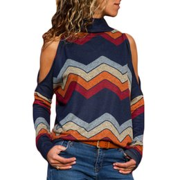 Wholesale cold jumper for sale - Group buy Rogi Sexy Cold Shoulder Female Long Sleeve Sweater Women Casual Turtleneck Striped Knitted Pullover Autumn Spring Jumper